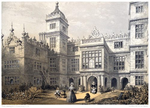 Charlton House, Wiltshire.   C. J. Richardson, from The baronial halls, and ancient picturesque edifices of England vol. 1, by Samuel Carter Hall, London, 1858.  (This one has been published in black and white not so long ago…)  (Source: archive.org)