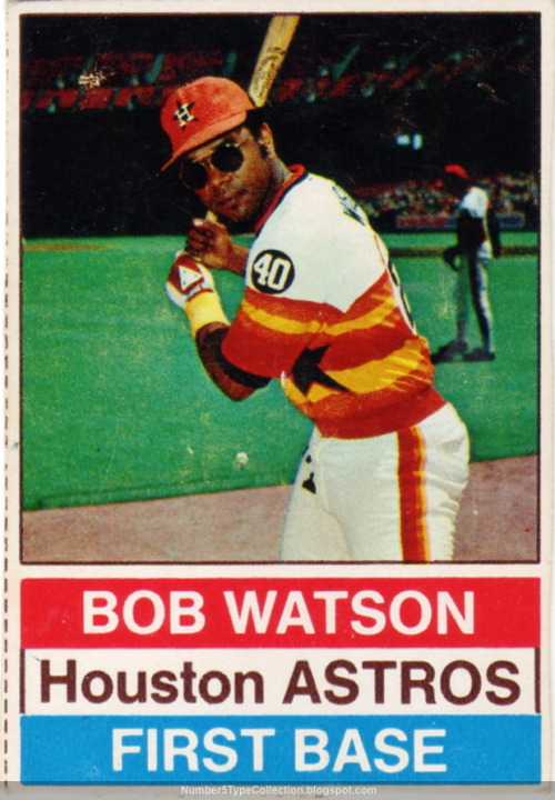 oldtimefamilybaseball:  Baseball Card of the Week:  How badass was Bob Watson? Not only could he pull off the Rainbow Stripes and was coming off a season in which he hit .324 with 18 home runs, but he was so flippin' rad that he had to wear sunglasses for his baseball card. Which, by the way, was taken inside in the Astrodome. A place that saw no sunlight.  Watson is now Major League Baseball's Vice President of Rules and On-Field Operations. I can only hope his number one rule for on-field operations is Always Be Cool.  (image via Number 5 Type Collection)   Good ballplayer.
