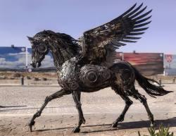 sculpture horror steampunk Pegasus steam punk steampunk tendencies scrap metal Metal Art metal sculpture