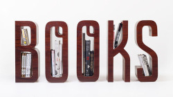 weandthecolor:  Typographic Bookshelf A personal typographic bookshelf design project by Saori Kajiwara and Matt Innes. More images of the bookshelf on WE AND THE COLORWATC//Facebook//Twitter//Google+//Pinterest