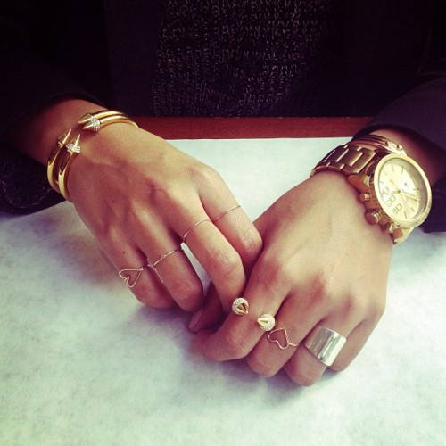 thecovetedmuse:  Yesterday's jewels: watch by Diesel, rings by @ladyartigas, @arielgordon, @aninebing and @forternal, bracelets by @vitafede