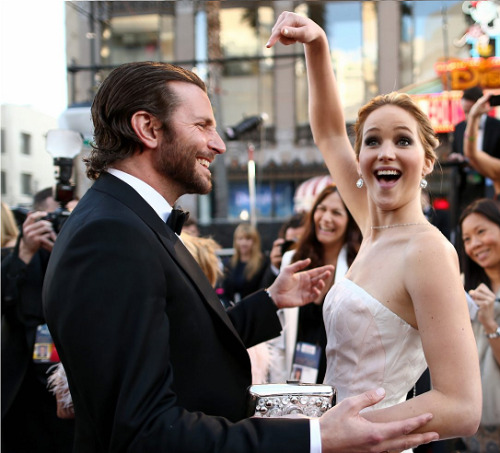 "bonappetitandontforgetpopney:  Bradley Cooper And jennifer Lawrence Are Probably Dating  And if not they will at some point.  ""They keep saying they're like brother and sister, but anyone who meets them can see that their chemistry is off the charts. Leo DiCaprio was clearly hitting on her, but she only had eyes for Bradley.."" according to Heat Magazine. The source also added, ""They were deep in conversation and talking about how they wanted to take a break after the awards season. Everyone at the party was talking about their chemistry; they really looked like they were together, but trying their best to hide it…"" So, here it is. Bradley's attracted to her, Jennifer's attracted to him, Bradley, 38, and Jennifer, 22, know there's too much of an age difference and they can't help it. Plain and simple, they'll date if they already aren't."