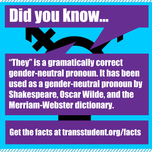 "transstudent:  Singular ""they"" is a correct gender-neutral pronoun! Don't let anyone tell you otherwise. Learn more. Click here to retweet. Click here to share on Facebook."