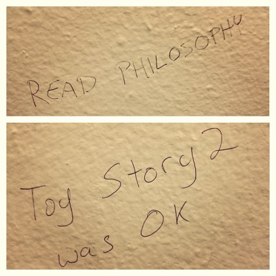 paulcibis:  The best bits of bathroom graffiti I've seen in quite some time.