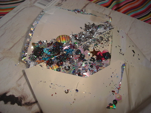 Letter full of glitter. I would be so happy if someone sent me this.