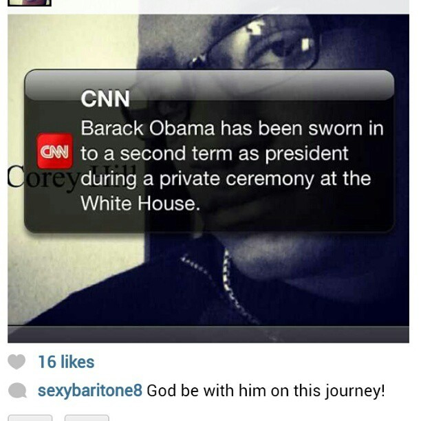 brandonbking:  #repost from  @sexybaritone8! #Obama  #2Termz #Inaugural (at Southern Bethany Baptist Church)
