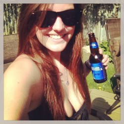 "It's a ""B"" day, be happy! #brunette #bikini #beer #bud #black #boobies #backyard #burn #beautiful"