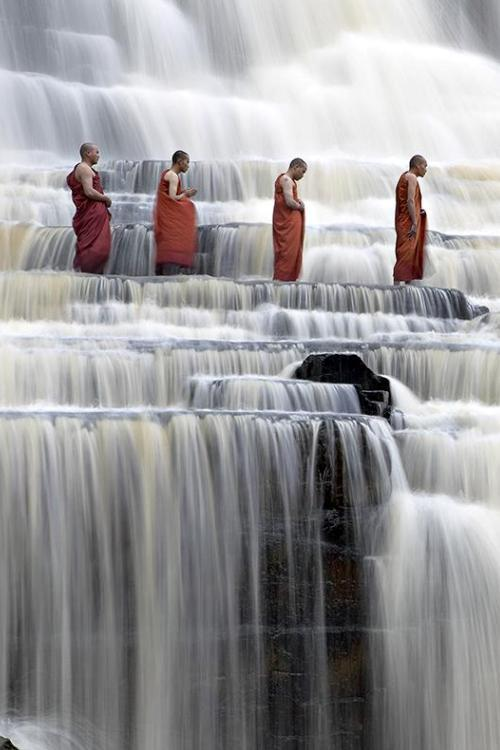 nonconcept:  Buddhist monks at Pongour Falls.
