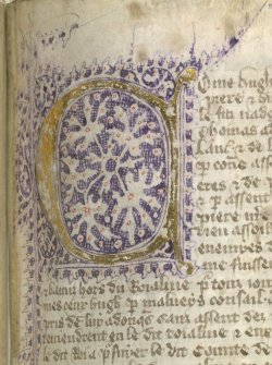 jothelibrarian:  Pretty medieval manuscript of the day is a lovely decorated initial from a fourteenth century manuscript produced in England. Image source: British Library MS Lansdowne 475. Image declared as public domain on the British Library website.  I love the way this letter looks like an amoeba or space.