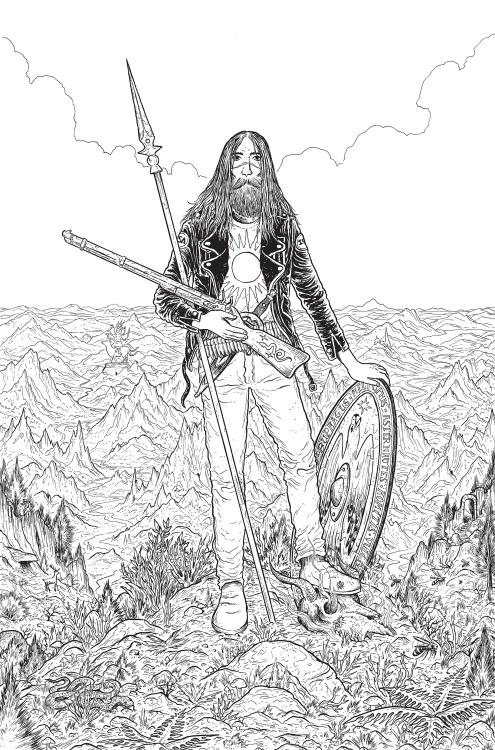 andromedacomic illustration penandink detailed linework mountains hero