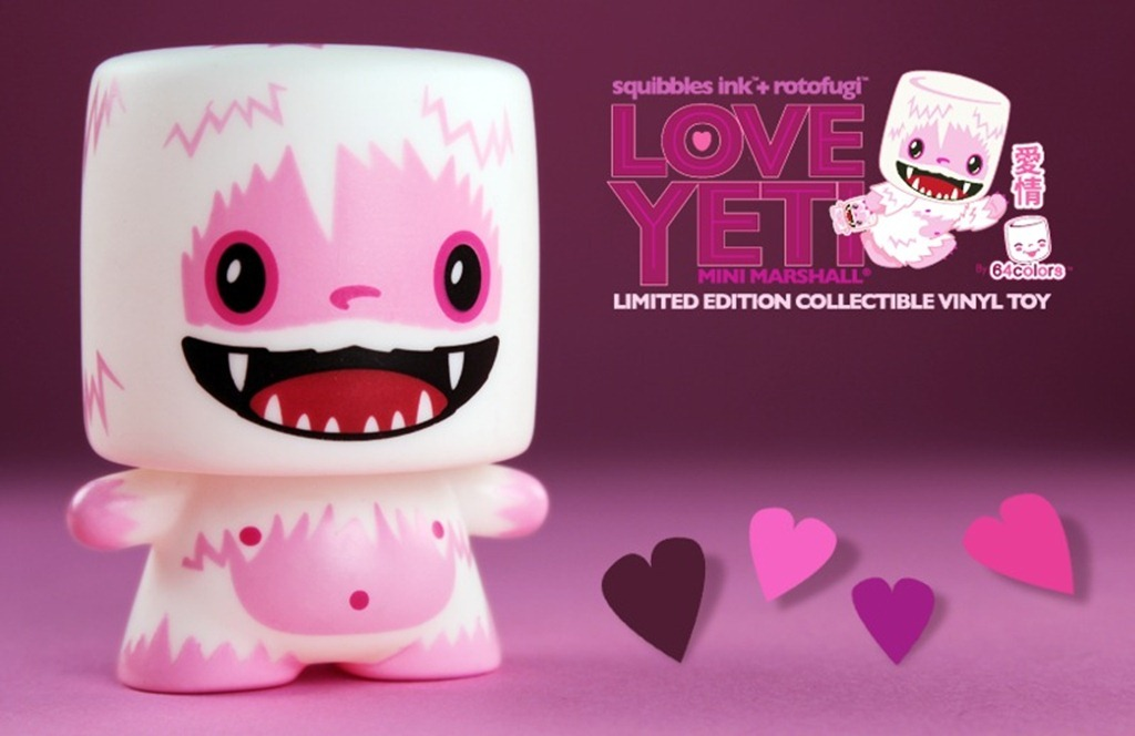 Love Yeti from 64colors A Siberian kiss from this frosty guy will melt your heart. 64colors have modified their Marshall design once again, this time with a pink color scheme. Produced by Squibbles Ink, it will drop on February 5 at Rotofugi. Source: Vinyl Pulse Check it: More 64colors posts from Albotas Buy: Marshall Mini-Figure Series 1 Blind Box