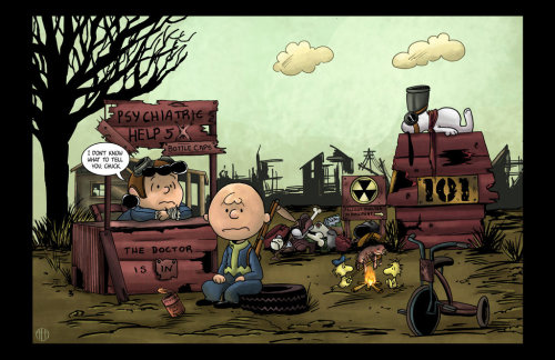 "saveroomminibar:  ""Fallout Charlie Brown"" by Theamat on DeviantArt"