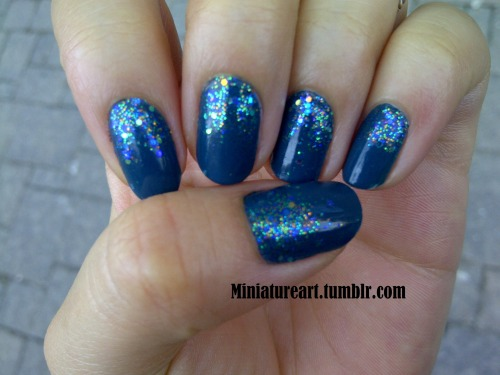 Glitter nails! I see this as a predecessor for shinny nails…I order rhinestones so come back to checked out some awesome bejeweled nails!  I used Go Over Board by Essie