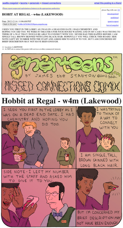 gnartoons:  Missed Connections Comix: Hobbit at RegalFeaturing a Ben Horak cameo.