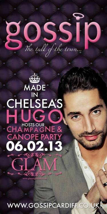 Made In Chelsea and I'm a Celebrity's HUGO will be hosting out Champagne and Canope party on Wednesday 6th February!