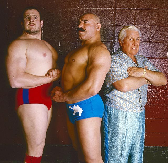"Nikolai Volkoff, The Iron Sheik and ""Classy"" Freddie Blassie pose during a 1985 SI photo shoot. (Walter Iooss Jr./SI) GALLERY: Pro Wrestling in the 1980s"