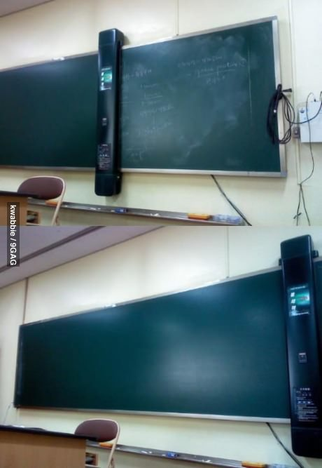 9gag:  Awesome blackboard cleaner