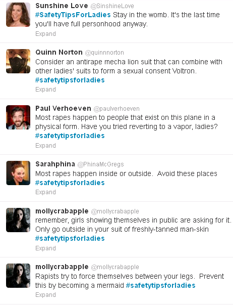signifierofmalepower:  My picks from #safetytipsforladies on Twitter.