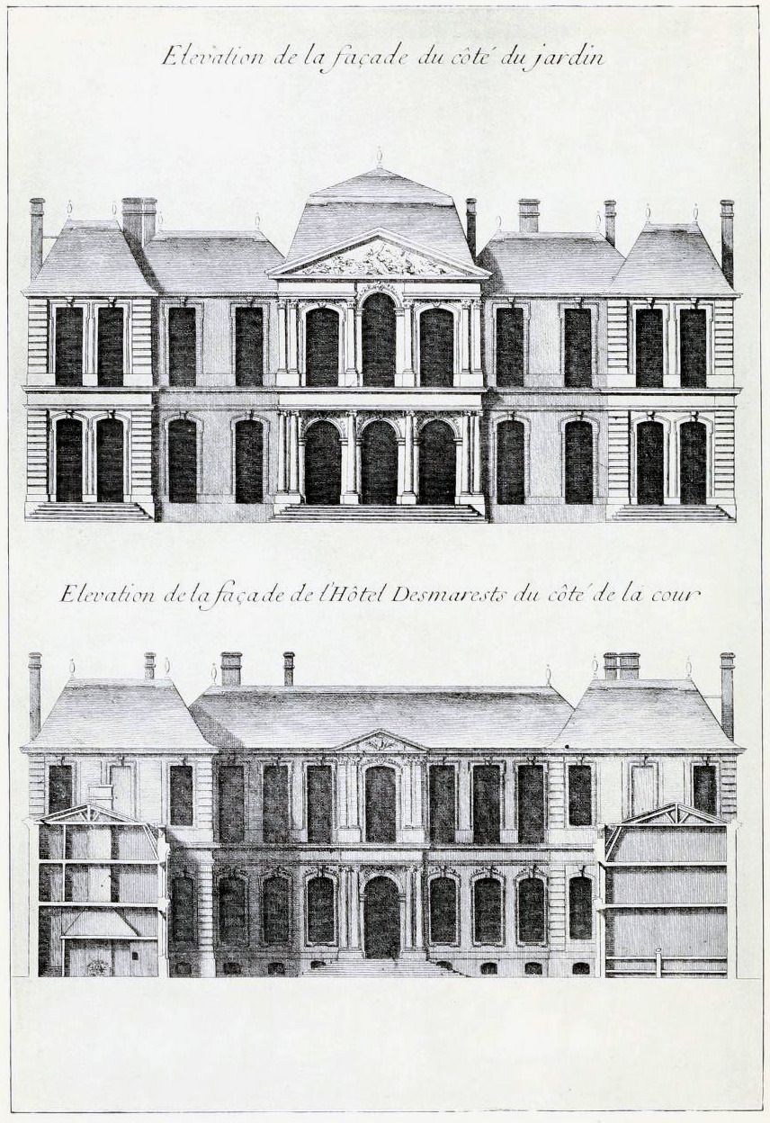 L'Assurance and D'Orbay's elevations for the Hôtel Desmares, Paris