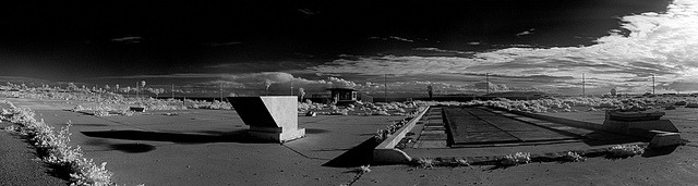 infrared panorama, abandoned nike missile site. san pedro, ca. 2006. by eyetwist on Flickr.