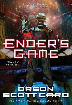 Ender's Game, Orson Scott Card (F, 20s, stowing into shoulder bag, thick, beat-up paperback, L train) http://bit.ly/X0eMmv