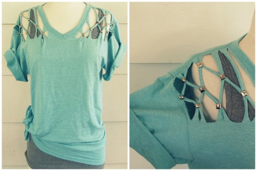 truebluemeandyou:  DIY No Sew Lattice Tee Shirt Tutorial from Wobisobi here. For lots more easy tee restyles and jewelry go here: truebluemeandyou.tumblr.com/tagged/wobisobi and for over 25 pages of tee shirt restyles go here: truebluemeandyou.tumblr.com/tagged/tee-shirt
