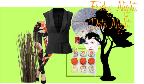 Sushi Date by simonesjewel featuring floral pantsFloral pants / Crate & Barrel Asian Willow Bunch