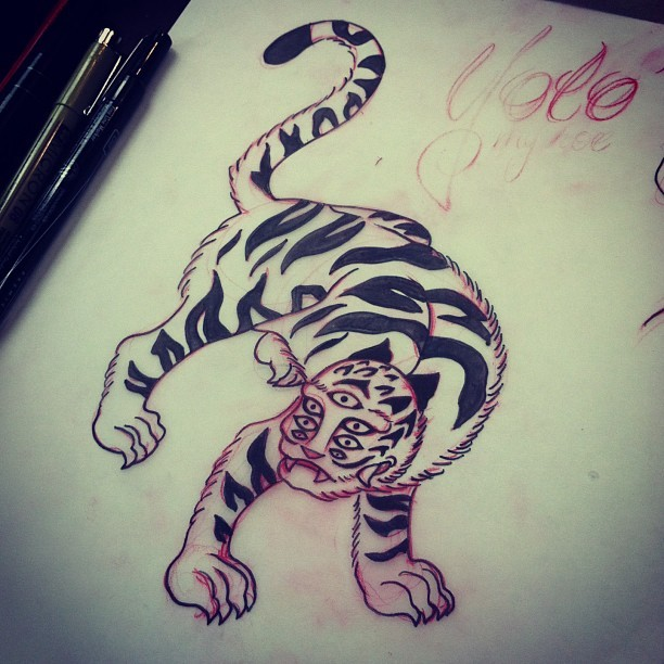 Korean tiger sketch. Oh, and yolo script. #korean #tiger #sketch #draw #art #yolo #derp