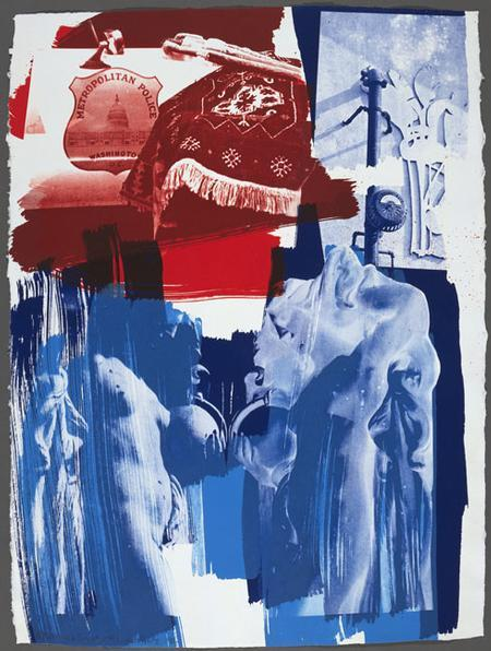 Robert Rauschenberg, Blues (Illegal Tender L.A.), 1991. Lithograph. Now on view in an exhibition of Rauschenberg prints at Elizabeth Leach Gallery in Portland, OR. Today through March 2, 2013.