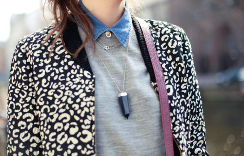 what-do-i-wear:  Denim shirt: DIY  |  Jumper: Uniqlo   |  Jacket: ZARA  |  Quartz necklace: Fashionology (image: stylescrapbook)