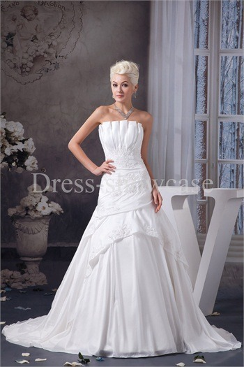A-Line Strapless Satin/Taffeta Court Train Wedding Dress http://www.Dress-ShowCase.com/A-Line-Strapless-Satin-Taffeta-Court-Train-Wedding-Dress-p20983.htmlView Post