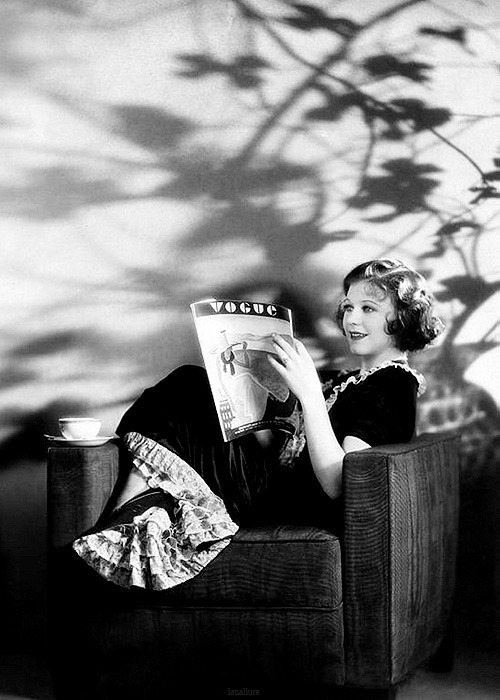 lanallure:  Ginger Rogers reading an issue of Vogue magazine in a publicity still for Honor Among Lovers, 1931.