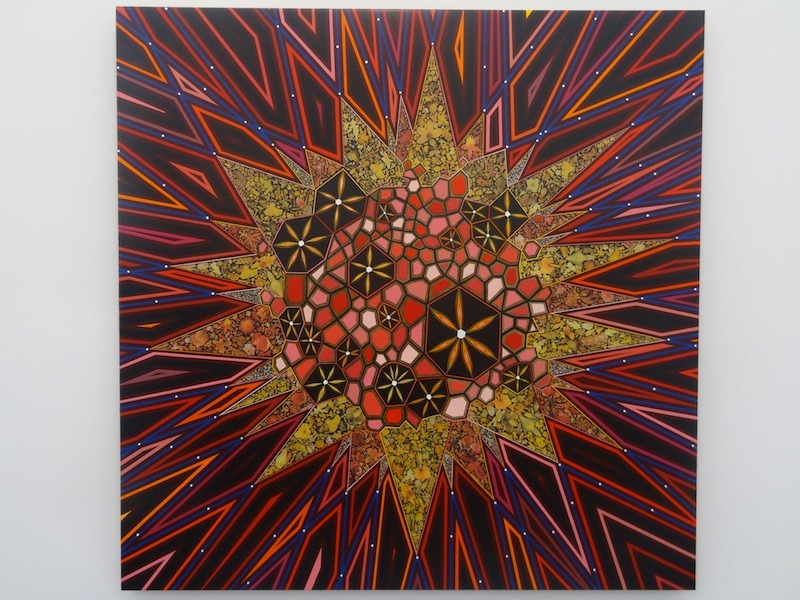 "Stunning new Fred Tomaselli, ""Untitled"" (2013), in James Cohan's booth at Frieze New York."