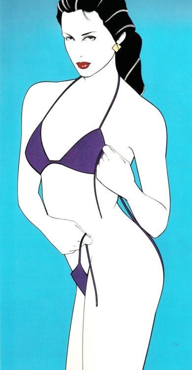 Patrick Nagel - Acrylic without title aboard the Playboy...