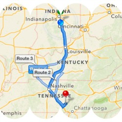 What the rest of my day looks like. Making a pit-stop in New Albany to meet up with my sister, then we are Tennessee-bound!
