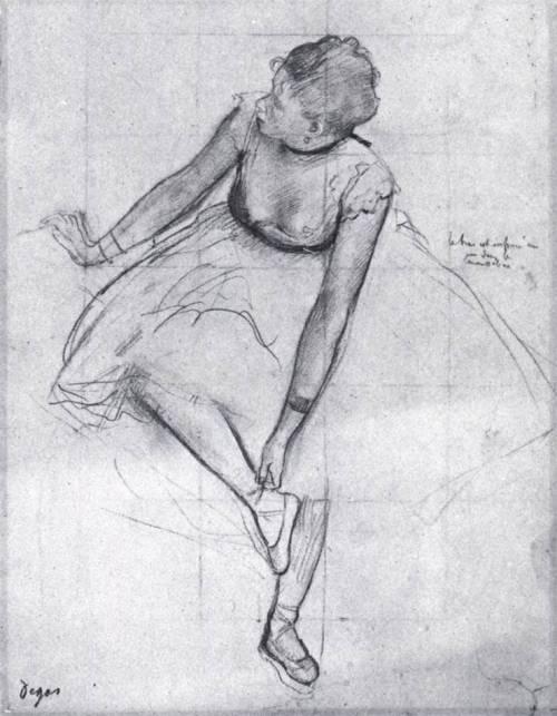 centuriespast:  DEGAS, EdgarDancer Adjusting Her Slipperc. 1874Pencil, charcoal, and white chalk on paper, 327 x 245mmMetropolitan Museum of Art, New York