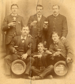 "calumet412:  Proud brewmeisters photographed with their ""bock"", 1880, Chicago. The barrels are hard to make out, but ""Chicago"" can be made out on the left and ""bock"" on the right. According to the print on the back, the photograph was taken at a studio at 650 Milwaukee Ave, Chicago. via Langdon Road"
