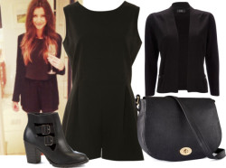 dresslikethegirls1d:   Eleanor Inspired: Look for Less by kathryn-xo featuring short shirts Wallis short shirt / A|Wear black romper, $49 / Cutout boots, $43 / H&M  handbag, $23