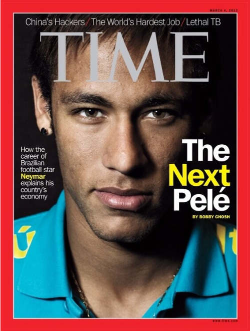 pitchinvasion:  inventfootball:  Neymar gets the TIME treatment  Latin American edition.  ¿Crees que es el nuevo Pelé?