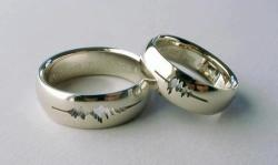 wongzy:  a ring with the couple's voice wavelengths engraved into the ring as they said 'i do'.