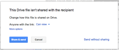 Gmail - When sharing a link to a Google doc via email, Gmail checks if the recipients have access to the file. If someone doesn't have access, it prompts you to share the file with them before sending the email.