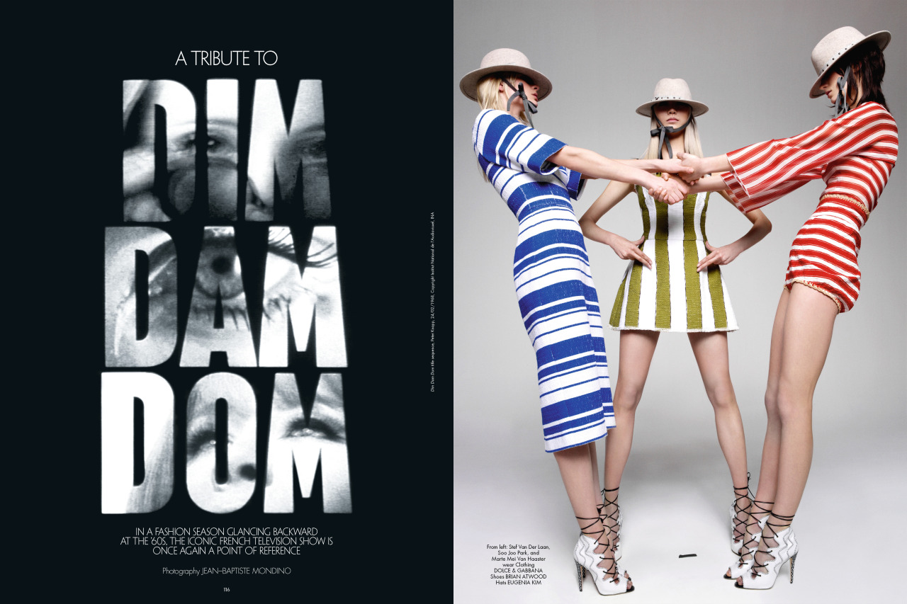 A TRIBUTE TO DIM DAM DOM In a fashion season glancing backward at the '60s, the iconic French television show is once again a point of reference [[MORE]]  Photography Jean-Baptiste MondinoDim Dam Dom title sequence, Peter Knapp, 24/02/1968, Copyright Institut National de l'Audiovisuel, INA  Above: From left: Stef Van Der Laan, Soo Joo Park, and Marte Mei Van Haaster wear Clothing Dolce & Gabbana Shoes Brian Atwood Hats Eugenia KimLeft: Wang and Marte wear Clothing and shoes Balenciaga by Nicolas Ghesquière.  Right: Lida wears Dress vintage Stephen Sprouse Necklace Chanel Fine Jewelry On lips, M.A.C COSMETICS Mineralize Rich Lipstick in Everyday DivaFrom left: Benthe, Bara, Marte, Stef, and Wang wear Clothing and shoes Louis Vuitton Lida (center) wears Clothing ValentinoTo view the full story, buy the issue on newsstands in Europe (February 21) and in the U.S. (February 28). Single issues and subscription purchases can be made here on CRFashionBook.com.