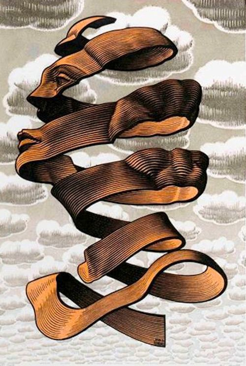 "pixography:  M.C. Escher ~ ""Rind"" 1955, wood engraving"