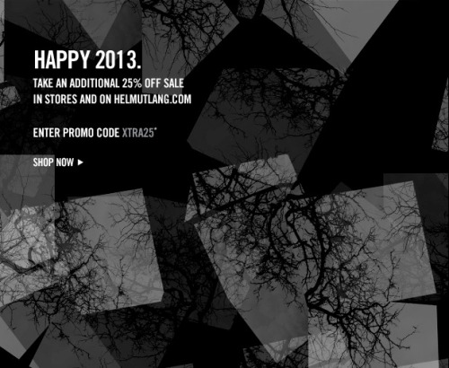 HAPPY 2013. TAKE AN ADDITIONAL 25% OFF SALE.  Enter promo code XTRA25 In stores and on helmutlang.com