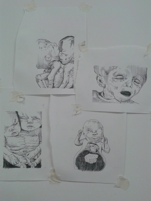 Been working on some new deformed foetal mono-prints today for my show @ The Brick Lane Gallery in April. Shall watercolour them tomorrow if I get a chance.Also working on 2 new taxidermy pieces tomorrow :) Mia x