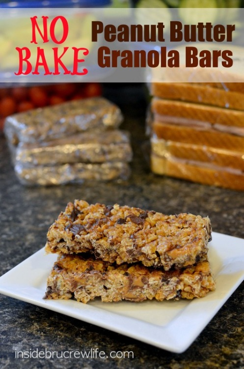 air-force-fit:  No Bake Peanut Butter Granola Bars   Prep Time: 15 minutes   Yield: 16 bars      No Bake Peanut Butter Granola Bars are more fun with chocolate chips and peanut butter cups.   Ingredients    1/4 cup coconut oil 1/4 cup honey 1/4 cup brown sugar 1/4 cup peanut butter 1/2 teaspoon vanilla extract 2 cups quick oats 1 cup rice krispie cereal 1/2 cup miniature chocolate chips 1 cup chopped miniature Reese's Peanut Butter Cups Instructions Combine the oats and cereal in a large bowl and set aside. In a large saucepan add the coconut oil, honey, and sugar. Stir over medium heat until melted. Bring to a boil and lower temperature. Simmer for two minutes. Add the peanut butter and vanilla and stir until melted. Pour the peanut butter mixture over the oats and cereal. Stir until thoroughly coated. Let cool for a few minutes before stirring in the chocolate chips and peanut butter cups. Press the mixture firmly into a greased 9x13 pan. Let cool before cutting into bars. Makes 16 bars.