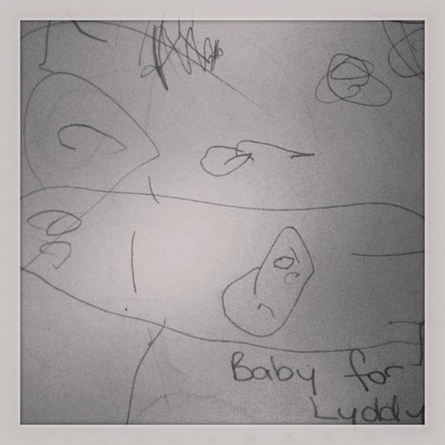 Lydia can now draw pictures of a baby in Mummy.. Haha, I think she is asking for a sibling