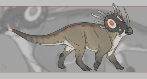 the-tabularium:  Styracosaurus being fabulous! I took the colour scheme and ran with it. Not sure if I like his dorsal spots but they can stay for now. I almost want to make a character out of it and call it Tiki. Not too sure why… Also, a shoutout to Dogwithglasses for kicking my art block in the butt and being the nicest husky around!