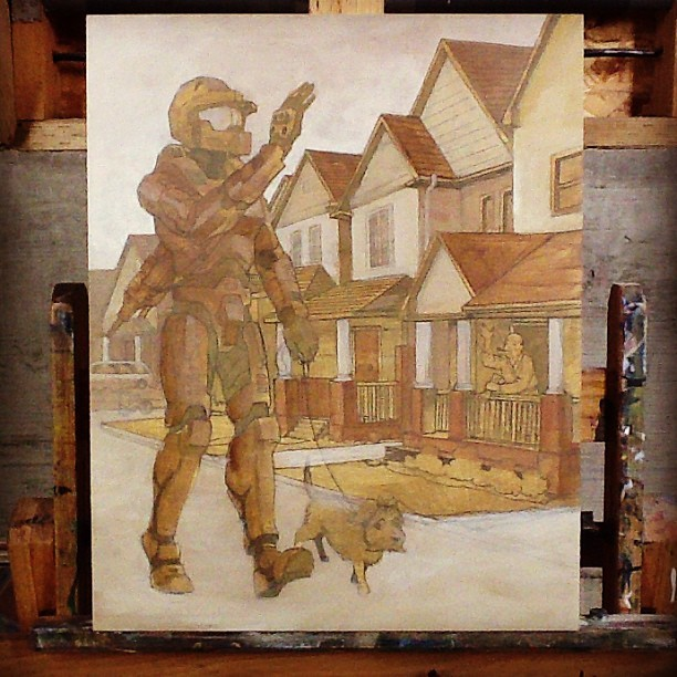 Blocking in tones. #masterchief #halo #presspaws #painting #acrylic