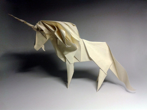 Unicorns = Awesome We love this lovely origami unicorn created by Yaroslav Mischenko, a talented photographer and paper artist from Kiev, Ukraine. Head over to Design You Trust to view more examples of Mischenko's folded paper creations.